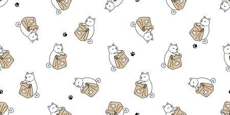 gato de patrones sin fisuras vector gatito pata huella cuenco comida calicó jengibre pescado bufanda aislado dibujos animados azulejo papel pintado repetir fondo ilustración diseño