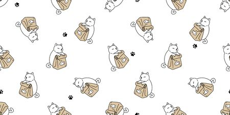 cat seamless pattern vector kitten paw footprint bowl food calico ginger fish scarf isolated cartoon tile wallpaper repeat background illustration design Illustration
