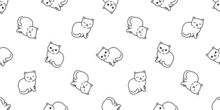 cat seamless pattern kitten vector scarf isolated repeat background tile wallpaper cartoon doodle illustration white design