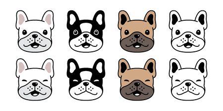 Hund Vektor französische Bulldogge Symbol Gesicht Kopf Lächeln Haustier Welpen Cartoon Charakter Symbol Illustration Doodle Design