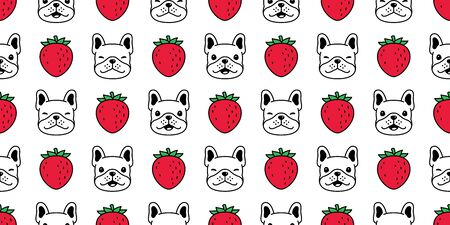 dog seamless pattern french bulldog vector face head strawberry pet puppy animal scarf isolated repeat wallpaper tile background cartoon doodle illustration design
