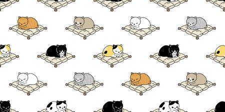 cat seamless pattern kitten vector calico sleeping pillow scarf isolated repeat background cartoon tile wallpaper doodle illustration design Vecteurs
