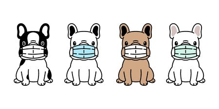 dog vector face mask covid19 french bulldog coronavirus virus pm 25 icon logo pet symbol character cartoon doodle illustration design