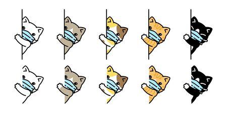 chat vecteur visage masque covid19 chaton icône corona virus calicot animal de compagnie personnage dessin animé symbole doodle illustration conception