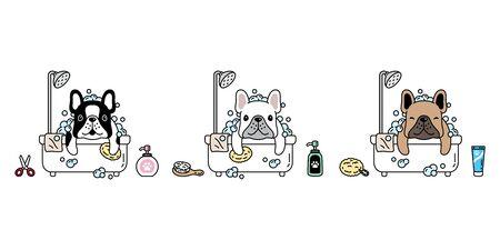 dog vector french bulldog icon shower bath soap shampoo pet puppy cartoon character symbol illustration doodle design 向量圖像