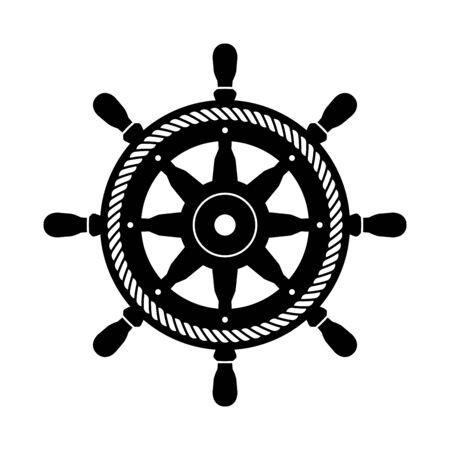 Helm vector icon boat symbol rope Anchor pirate Nautical maritime illustration graphic simple design Vettoriali