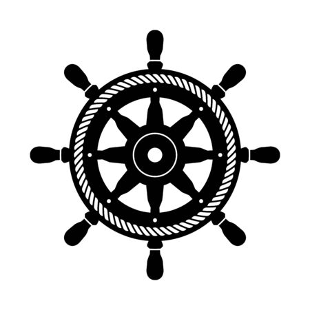Helm vector icon boat symbol rope Anchor pirate Nautical maritime illustration graphic simple design Vector Illustratie