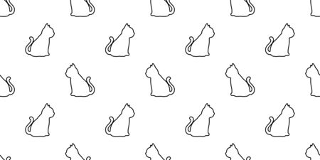 cat seamless pattern kitten vector calico pet animal scarf isolated repeat background cartoon tile wallpaper doodle illustration white design Illustration