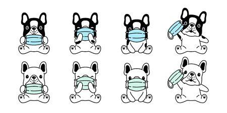 dog vector face mask covid-19 french bulldog coronavirus virus pm 25 icon logo pet symbol cartoon character breed doodle illustration design