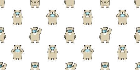 bear seamless pattern polar bear face mask covid19 corona virus pm 25 vector animal scarf isolated repeat wallpaper tile background cartoon doodle illustration design