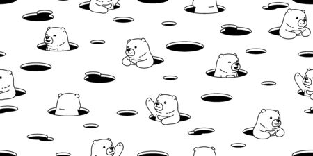 Bear seamless pattern polar bear vector hole hide scarf isolated cartoon repeat wallpaper tile background doodle illustration white design