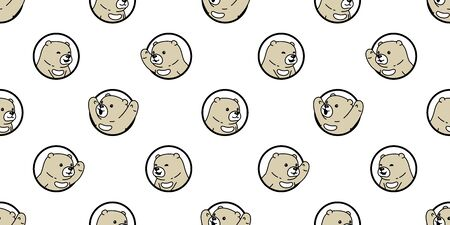 Bear seamless pattern polar bear vector hole window scarf isolated cartoon repeat wallpaper tile background doodle illustration design