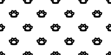 cat paw seamless pattern dog footprint kitten french bulldog vector claw cartoon icon doodle repeat wallpaper scarf isolated tile background illustration design
