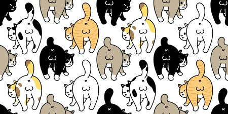 cat seamless pattern kitten breed vector calico animal pet scarf isolated repeat background cartoon tile wallpaper illustration doodle design