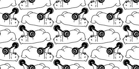 Bear seamless pattern polar bear vector training fitness dumbbell sport scarf isolated teddy cartoon repeat wallpaper tile background doodle illustration design Vettoriali