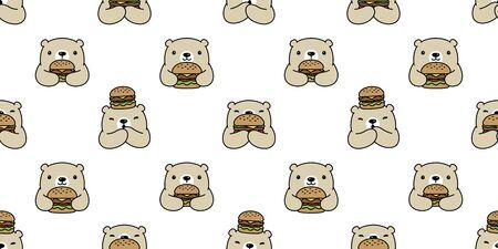 Bear seamless pattern polar bear vector hamburger scarf isolated cartoon repeat wallpaper tile background doodle illustration design