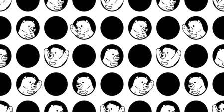 Bear seamless pattern polar bear vector hole polka dot scarf isolated cartoon repeat wallpaper tile background doodle illustration design