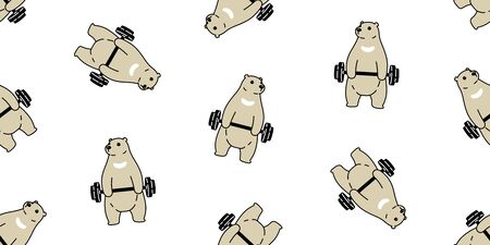 Bear seamless pattern polar bear vector training fitness dumbbell sport scarf isolated cartoon repeat wallpaper tile background doodle illustration brown design Vettoriali