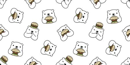 Bear seamless pattern polar bear vector hamburger scarf isolated cartoon repeat wallpaper tile background doodle illustration white design Vettoriali