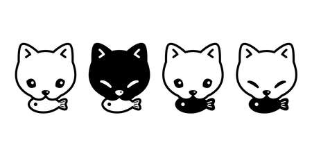 cat vector icon kitten eating fish calico head face pet logo symbol character cartoon doodle illustration design 일러스트
