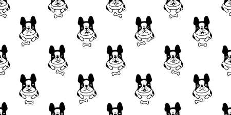dog seamless pattern french bulldog puppy pet vector bone repeat wallpaper scarf isolated tile background cartoon animal doodle illustration design