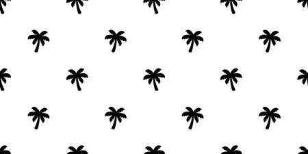 palm tree seamless pattern coconut tree vector island tropical ocean summer beach scarf isolated tile background repeat wallpaper cartoon white illustration design