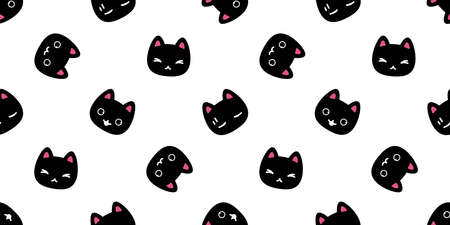 cat seamless pattern kitten vector breed calico pet scarf isolated repeat background cartoon animal tile wallpaper wraping paper illustration doodle design