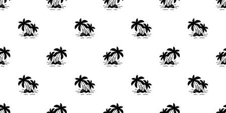 palm tree seamless pattern island coconut tree vector ocean summer beach tropical scarf isolated tile background repeat wallpaper cartoon illustration design