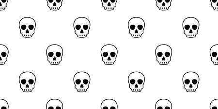 skull Halloween seamless pattern vector crossbone ghost pirate icon scarf isolated repeat wallpaper tile background cartoon doodle illustration design