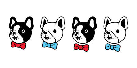 dog vector french bulldog icon face head bow tie pet puppy cartoon character symbol doodle illustration design Vettoriali