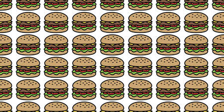 hamburger seamless pattern fast food vector bakery baked meat icon restaurant repeat wallpaper scarf isolated cartoon tile background doodle illustration design