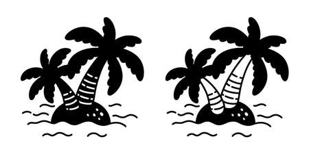 palm tree icon island coconut tree vector logo symbol plant sign tropical summer beach character cartoon illustration doodle design 일러스트
