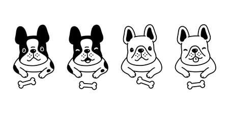 dog vector french bulldog icon face head pet puppy cartoon character symbol doodle animal illustration design 스톡 콘텐츠 - 151536248