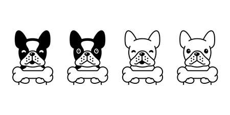 dog vector french bulldog icon bone pet puppy cartoon character animal doodle symbol illustration design 스톡 콘텐츠 - 152123604