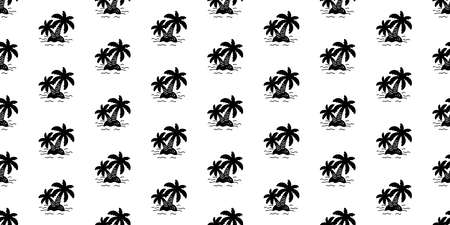 palm tree seamless pattern island coconut tree vector ocean beach summer tropical scarf isolated tile background repeat wallpaper cartoon illustration design