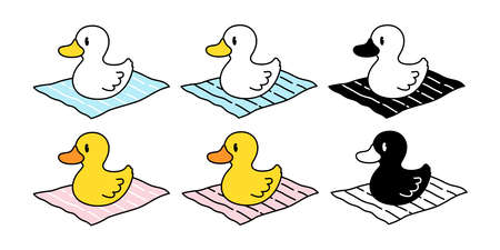 duck vector icon logo rubber duck bird farm cartoon character Beach towel illustration animal symbol doodle design