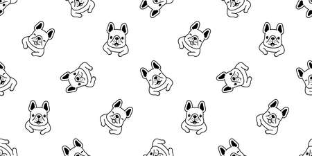 dog seamless pattern french bulldog puppy pet bone vector repeat wallpaper scarf isolated tile background cartoon animal doodle illustration design 일러스트