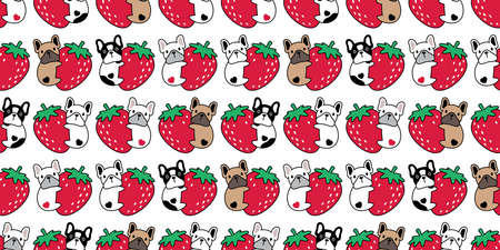 dog seamless pattern french bulldog puppy strawberry heart fruit pet breed vector repeat wallpaper scarf isolated tile background cartoon animal doodle illustration design