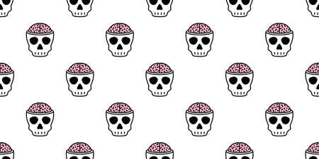 skull Halloween seamless pattern vector brain crossbone ghost pirate icon scarf isolated repeat wallpaper tile background cartoon doodle illustration design
