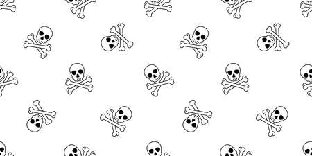 skull Halloween seamless pattern crossbones pirate vector ghost symbol scarf isolated repeat wallpaper tile background cartoon doodle illustration design 일러스트