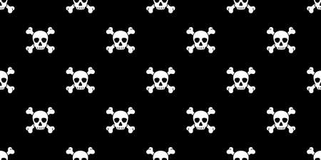 skull Halloween seamless pattern crossbones pirate vector symbol ghost scarf isolated repeat wallpaper tile background cartoon doodle illustration black design