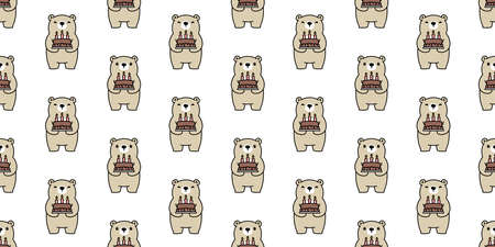 Bear seamless pattern vector polar bear cake birthday bakery scarf isolated cartoon tile background repeat wallpaper illustration animal design 일러스트