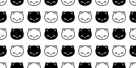 cat seamless pattern kitten calico vector pet head face scarf isolated repeat background cartoon animal tile wallpaper illustration doodle black white design 일러스트