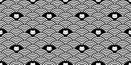 cat seamless pattern kitten calico vector japan wave pet face head scarf isolated repeat background cartoon animal tile wallpaper illustration doodle design