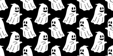 Ghost seamless pattern vector Halloween spooky scarf isolated repeat wallpaper tile background devil evil cartoon illustration doodle gift wrap paper black design 스톡 콘텐츠 - 152123712