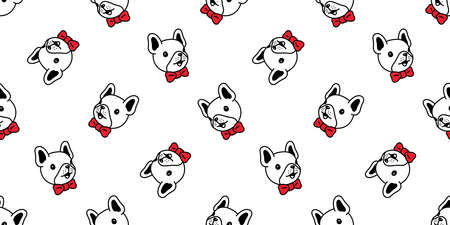 dog seamless pattern french bulldog vector face head bow tie pet puppy animal scarf isolated repeat wallpaper tile background cartoon illustration doodle design