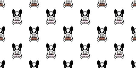 dog seamless pattern french bulldog vector birthday cake pet puppy animal scarf isolated repeat wallpaper tile background cartoon illustration doodle design 일러스트
