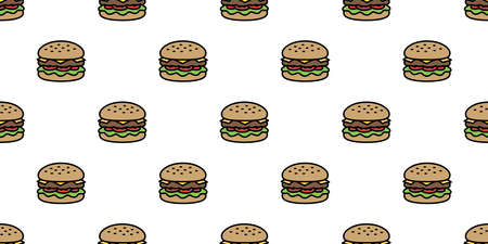 hamburger  seamless pattern fast food vector bakery baked meat icon restaurant repeat wallpaper scarf isolated cartoon tile background illustration doodle design 일러스트