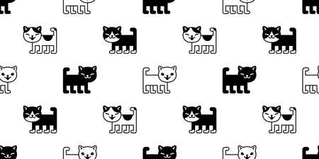 cat seamless pattern kitten vector breed calico pet scarf isolated repeat background cartoon animal tile wallpaper illustration doodle white design 일러스트