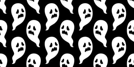 Ghost seamless pattern Halloween spooky vector scarf isolated repeat wallpaper tile background devil evil cartoon doodle illustration gift wrap paper black design